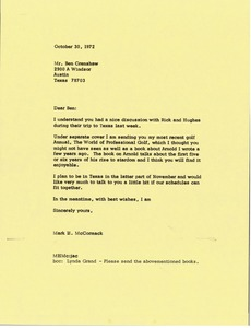 Thumbnail of Letter from Mark H. McCormack to Ben Crenshaw