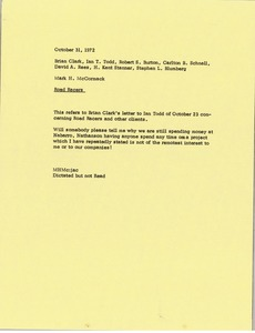 Thumbnail of Memorandum from Mark H. McCormack to Brian Clark, Ian T. Todd, Robert S. Burton,         Carlton B. Schnell, David A. Rees, H. Kent Stanner and Stephen Blumberg