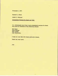 Thumbnail of Memorandum from Judy A. Chilcote to Richard R. Alford