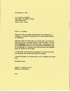 Thumbnail of Letter from Judy A. Chilcote to David B. Quigley