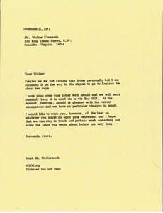 Thumbnail of Letter from Mark H. McCormack to Walter Clements
