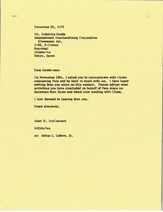 Thumbnail of Letter from Mark H. McCormack to Hidehiko Kanda