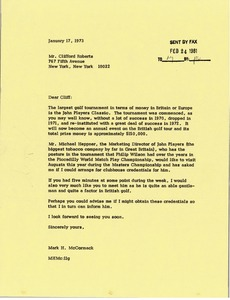 Thumbnail of Letter from Mark H. McCormack to Clifford Roberts
