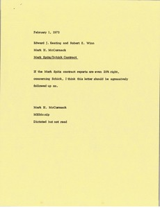 Thumbnail of Memorandum from Mark H. McCormack to Edward J. Keating and Robert E. Winn