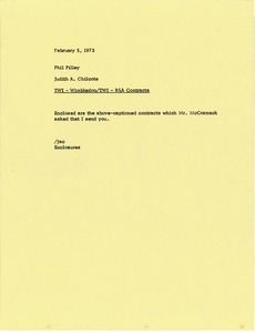 Thumbnail of Memorandum from Judy Chilcote to Phil Pilley