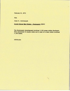 Thumbnail of Memorandum from Mark H. McCormack to Arnold Palmer Sacramento real estate file