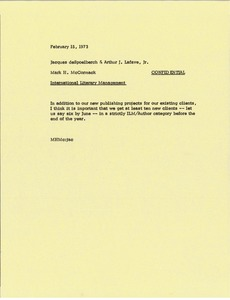Thumbnail of Memorandum from Mark H. McCormack to Jacques deSpoelberch and Arthur J. Lafave