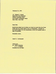 Thumbnail of Letter from Mark H. McCormack to Robert K. Schell