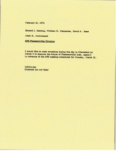 Thumbnail of Memorandum from Mark H. McCormack to Edward J. Keating, William H. Carpenter and             David A. Rees