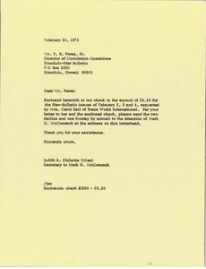 Thumbnail of Letter from Judy Chilcote to R. B. Perez