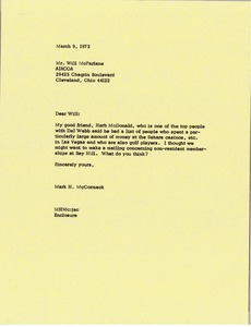 Thumbnail of Letter from Mark H. McCormack to Will McFarland