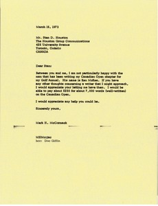 Thumbnail of Letter from Mark H. McCormack to Stan D. Houston