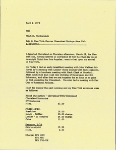 Thumbnail of Memorandum from Mark H. McCormack concerning his trips from March 22 to 29, 1973