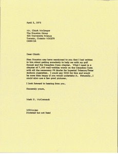 Thumbnail of Letter from Mark H. McCormack to Chick McGregor