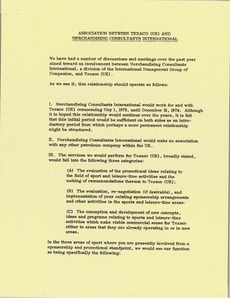 Thumbnail of Memorandum from Mark H. McCormack concerning the association between Texaco (UK) and Merchandising Consultants International