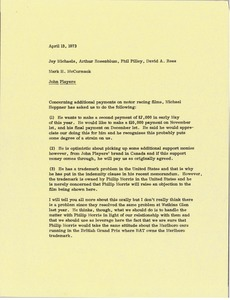 Thumbnail of Memorandum from Mark H. McCormack to Jay Michaels, Arthur Rosenblum, Phil Pilley, and David A. Rees
