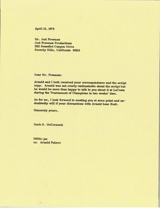 Thumbnail of Letter from Mark H. McCormack to Joel Freeman