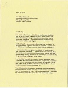 Thumbnail of Letter from Mark H. McCormack to Kathy Whitworth