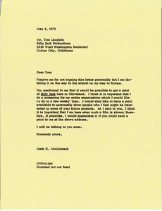 Thumbnail of Letter from Mark H. McCormack to Tom Laughlin