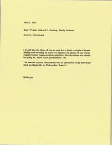 Thumbnail of Memorandum from Mark H. McCormack to Barry Frank, Edward J. Keating, Shelly             Saltman