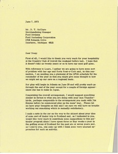 Thumbnail of Letter from Mark H. McCormack to Doug McClure