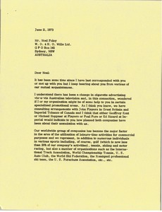 Thumbnail of Letter from Mark H. McCormack to Noel Foley