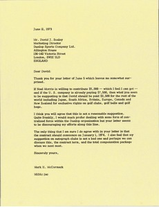 Thumbnail of Letter from Mark H. McCormack to David J. Sealey