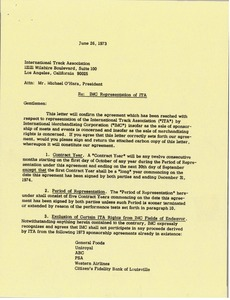 Thumbnail of Letter from Mark H. McCormack to Michael O'Hara
