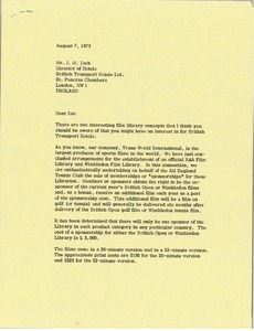 Thumbnail of Letter from Mark H. McCormack to I. M. Jack