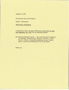 Thumbnail of Memorandum from Mark H. McCormack to Ed Janeway