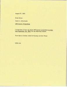 Thumbnail of Memorandum from Mark H. McCormack to Ernie Green