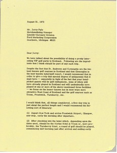 Thumbnail of Letter from Mark H. McCormack to Jerry Pyle