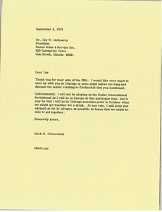 Thumbnail of Letter from Mark H. McCormack to Jay W. McGreevy