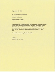 Thumbnail of Memorandum from Mark H. McCormack to Ed Janeway and David Brilliant