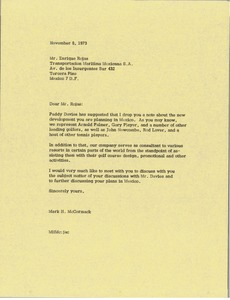 Thumbnail of Letter from Mark H. McCormack to Enrique Rojas