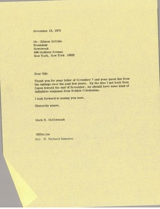 Thumbnail of Letter from Mark H. McCormack to Gibson McCabe