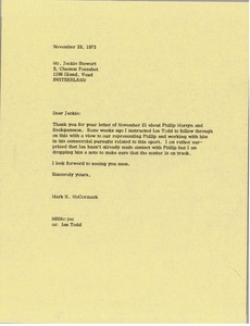 Thumbnail of Letter from Mark H. McCormack to Jackie Stewart