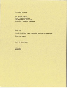 Thumbnail of Letter from Mark H. McCormack to Robert M. Haynie