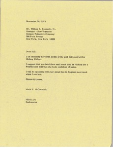 Thumbnail of Letter from Mark H. McCormack to William J. Kennedy