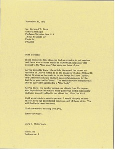 Thumbnail of Letter from Mark H. McCormack to Bernard T. Picot