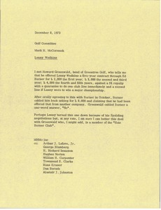 Thumbnail of Memorandum from Mark H. McCormack to the golf committee