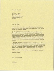 Thumbnail of Letter from Mark H. McCormack to Ray L. Pace