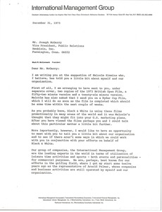 Thumbnail of Letter from Mark H. McCormack to Joseph McGarry