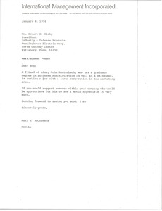 Thumbnail of Letter from Mark H. McCormack to Robert E. Kirby