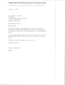 Thumbnail of Letter from Mark H. McCormack to Graham J. Morgan