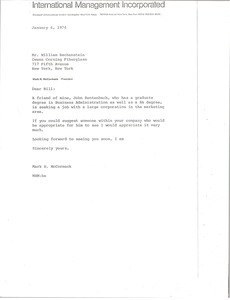 Thumbnail of Letter from Mark H. McCormack to William Bechenstein