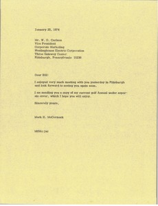 Thumbnail of Letter from Mark H. McCormack to W. O. Carlsen