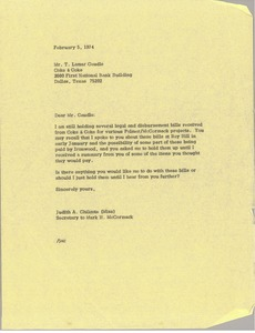 Thumbnail of Letter from Judy Chilcote to T. Lamar Caudle