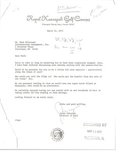 Thumbnail of Letter from Jerry Johnston to Mark H. McCormack