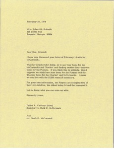 Thumbnail of Letter from Judy Chilcote to Robert G. Schmidt
